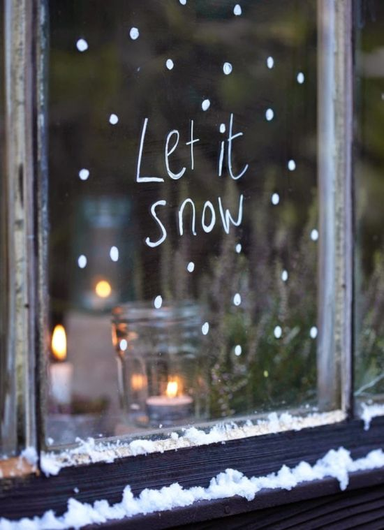 Christmas Window Decoration Ideas With White Marker