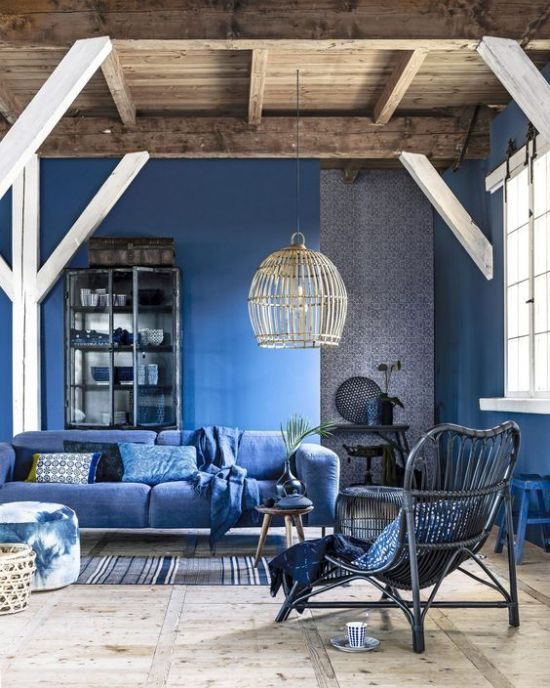 Classic Blue Living Room With Walls And A Sofa