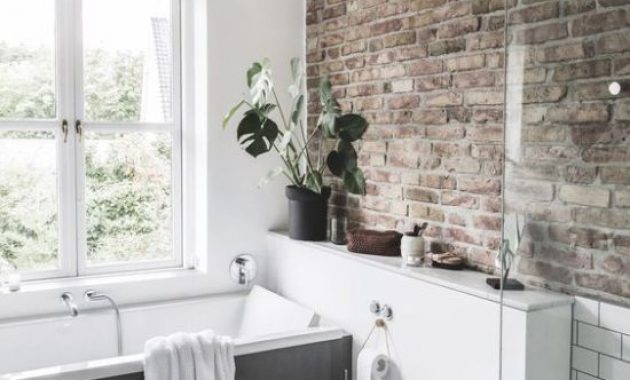 Contemporary Bathroom With Single Brick Wall