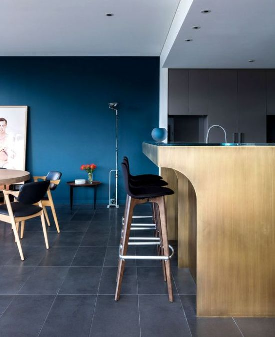 Contemporary Space With An Accent Classic Blue Wall