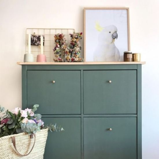 Dark Green IKEA Hemnes Shoe Cabinet Hack With A Wooden Countertop