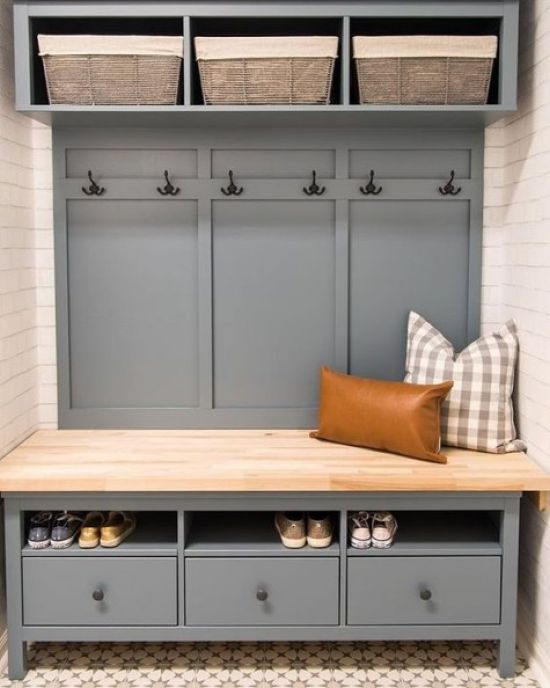 Entryway Bench And Storage Piece With Wooden Boxes And Drawers Of IKEA Hemnes