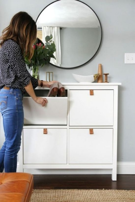 IKEA Hemnes Cabinet Hack With Leather Pulls