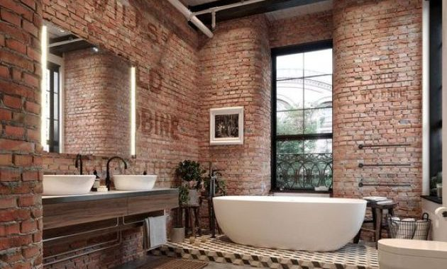 Industrial Bathroom Done With Red Bricks