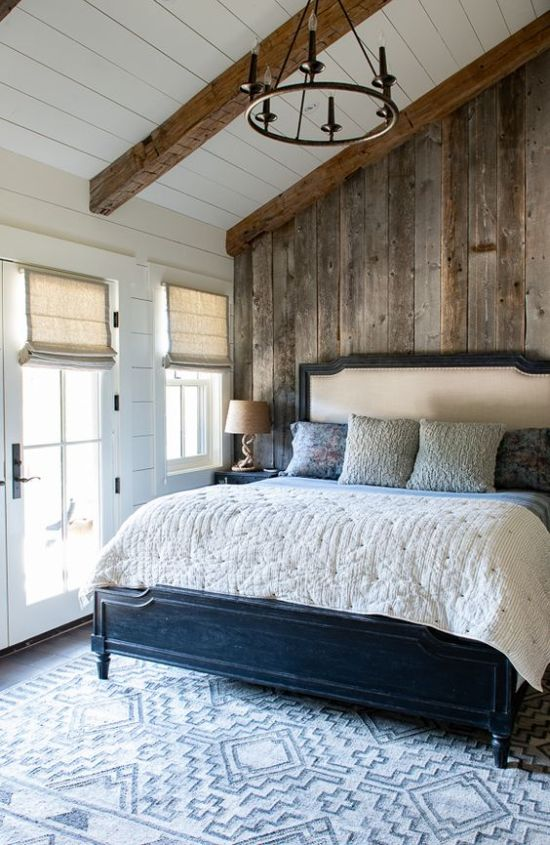 Industrial Bedroom Accent With Reclaimed Wooden Wall And Matching Wooden Beams