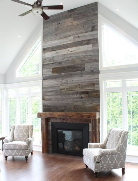 Industrial Fireplace Touch With Grey Reclaimed Wood Wall
