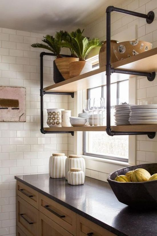 Industrial Kitchen Touch With Wall-Mounted Shelving Unit Of Black Pipes And Wood
