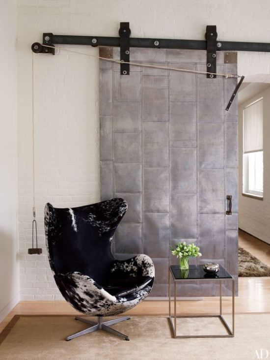 Industrial Room Touch With A Sliding Metal Door
