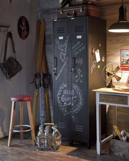 Industrial Room Touch With Vintage Metal Cabinet