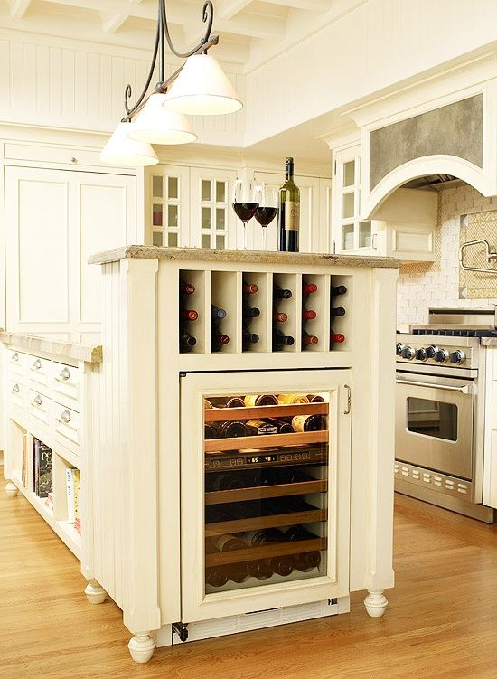 Large Wine Storage Unit Built Into The Kitchen Island