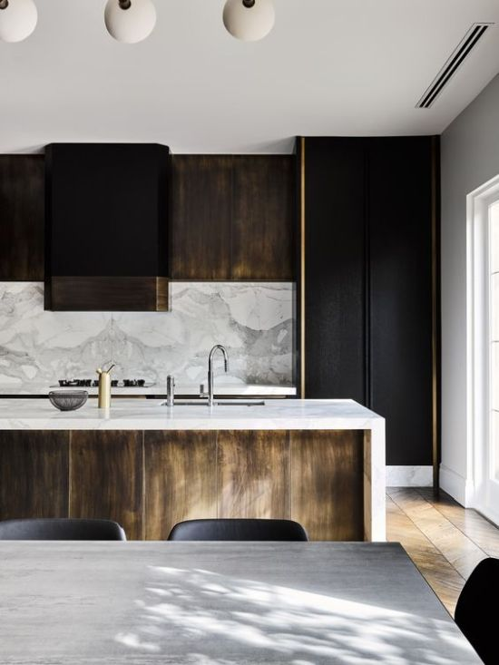 Masculine Kitchen With Black And Light-Colored Wooden Cabinets
