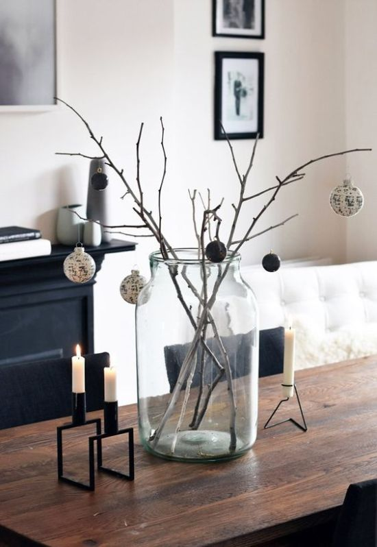 Minimalist Christmas Décor With Branches In A Jar And Black And White Ornaments