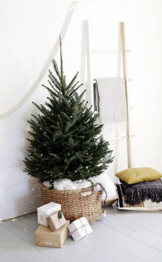 Minimalist Christmas Décor With Lights In A Basket With White Faux Fur