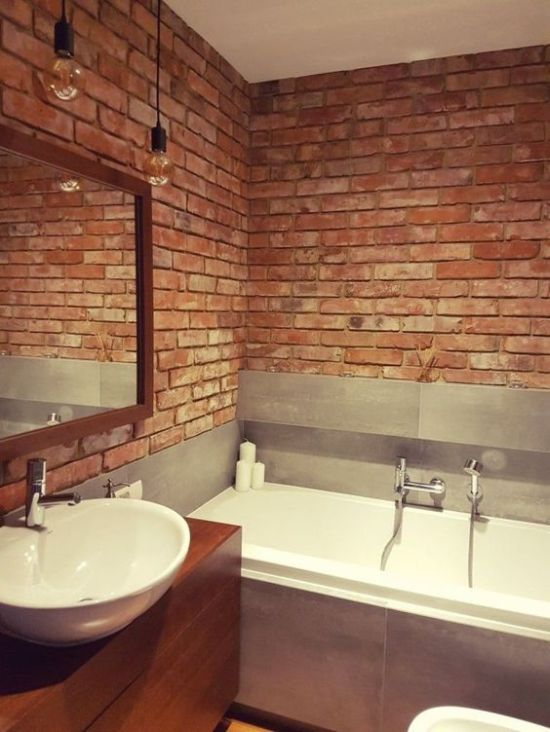 Minimalist Industrial Bathroom With Red Brick Wall
