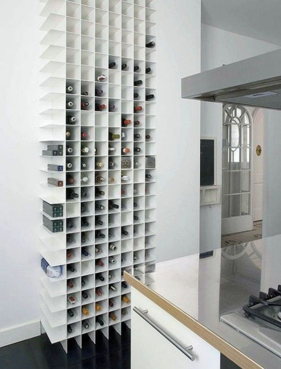 Minimalist Wall-Mounted Storage Unit For Wine Bottles