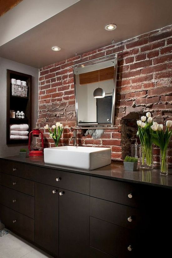 Modern Bathroom With Red Brick Wall