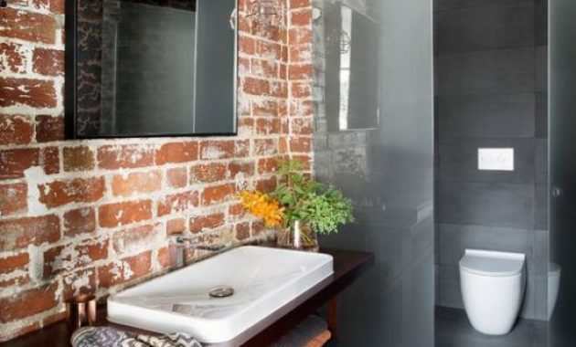 Modern Minimalist Bathroom With Brick Wall