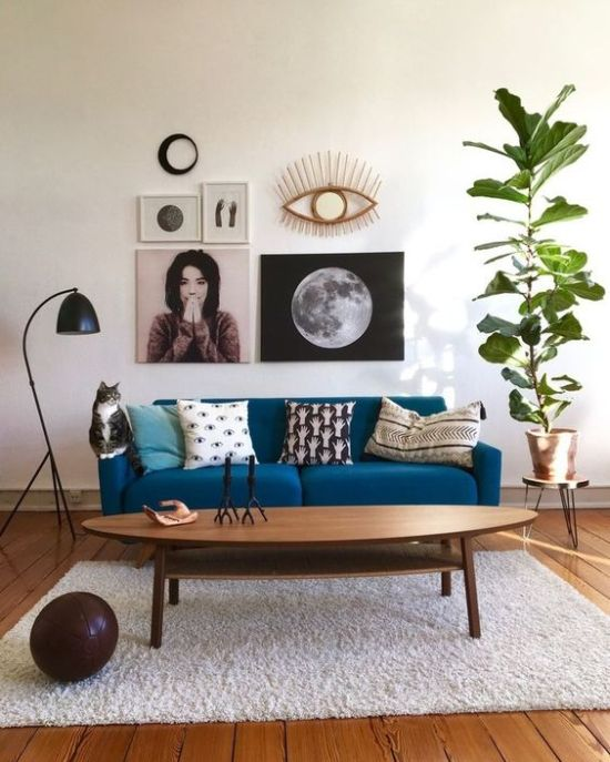 Monochromatic Space With A Classic Blue Sofa
