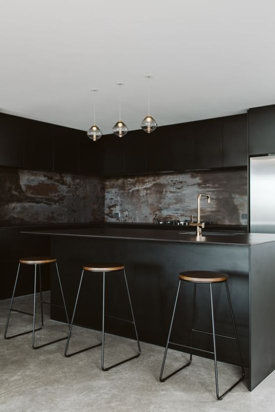 Moody Black Kitchen With Sleek Cabinets