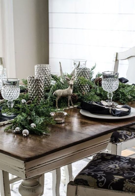 Moody Rustic Christmas Table With An Evergreen Runner
