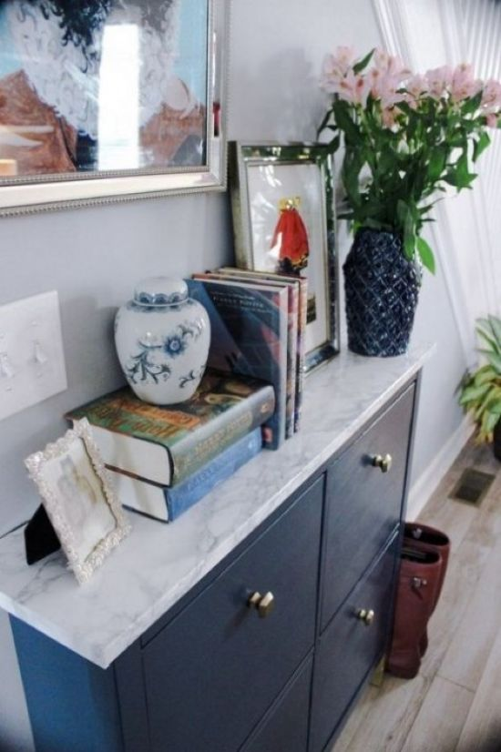 Navy IKEA Hemnes Shoe Cabinet With A Marble Contact Paper Top