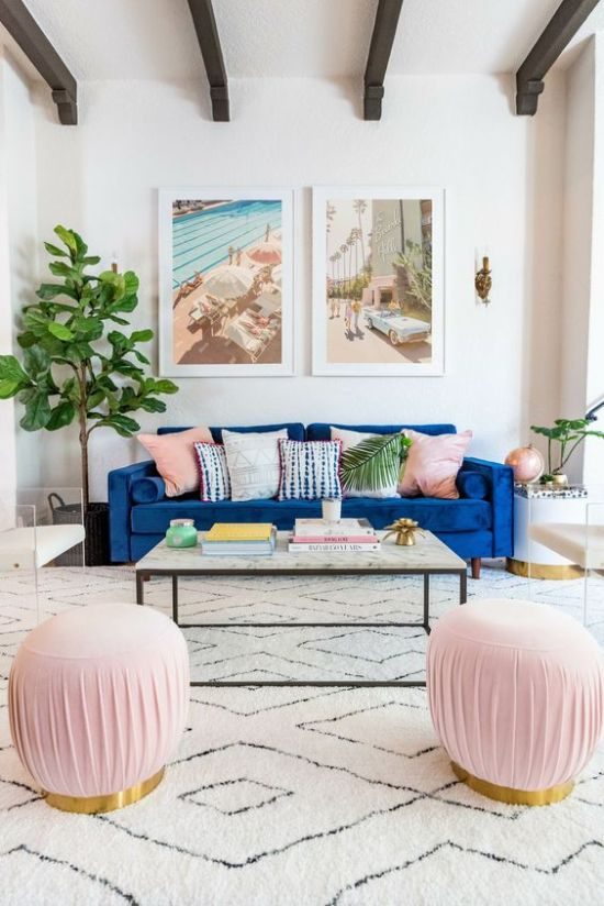Neutral And Pastel Living Room With A Classic Blue Sofa