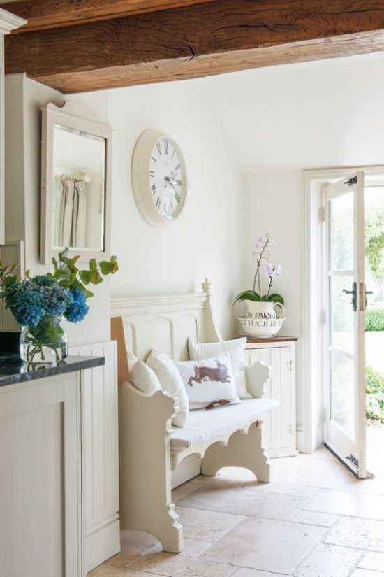 Neutral Shabby Chic Entryway With A Carved Wooden Bench