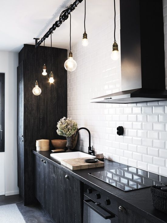 Nordic Black And White Kitchen With Dark Furniture