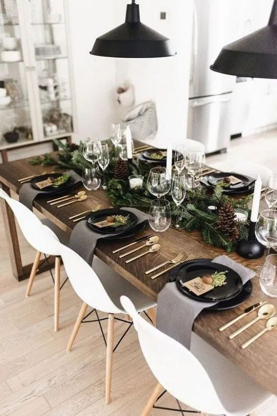 Nordic Rustic Tablescape With An Evergreen Runner