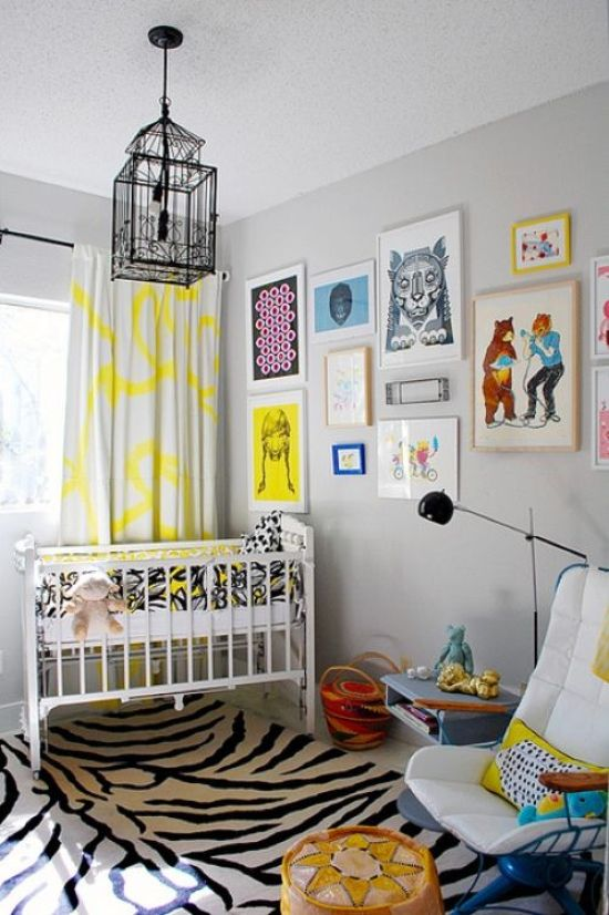 Nursery Decor Ideas With A Printed Rug And Colorful Print Curtains