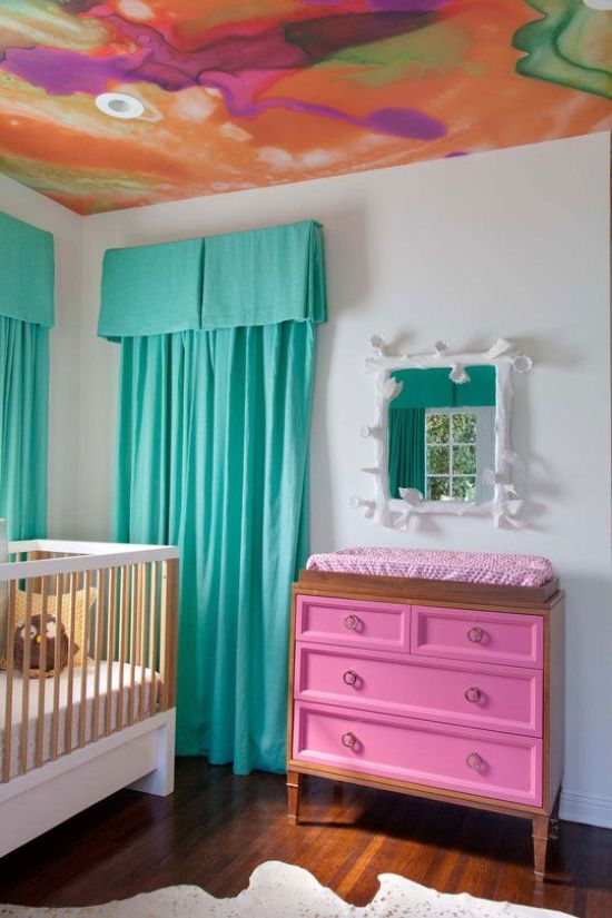 Nursery Decor Ideas With Colorful Watercolor Ceiling And Fun Bedding