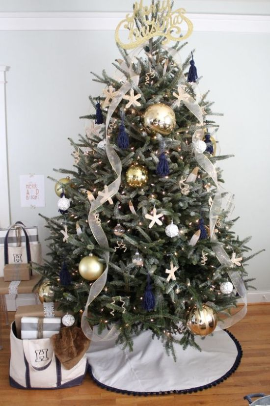 Oversized Christmas Ornament Ideas With Oversized Metallic Ones And Ribbons And A Calligraphy Topper