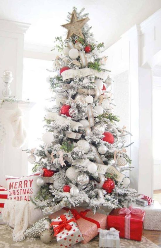 Oversized Christmas Ornament Ideas With White And Burlap Ribbons