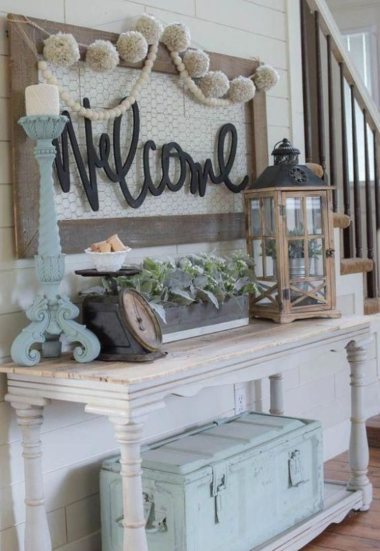 Pastel Shabby Chic Entryway With A Console Table