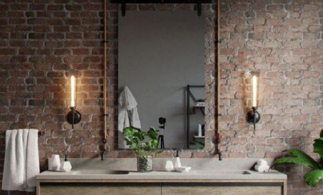 Rustic Bathroom With Red Brick Wall