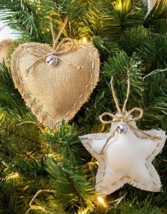 Rustic Burlap Christmas Ornaments With Little Bells And Twine
