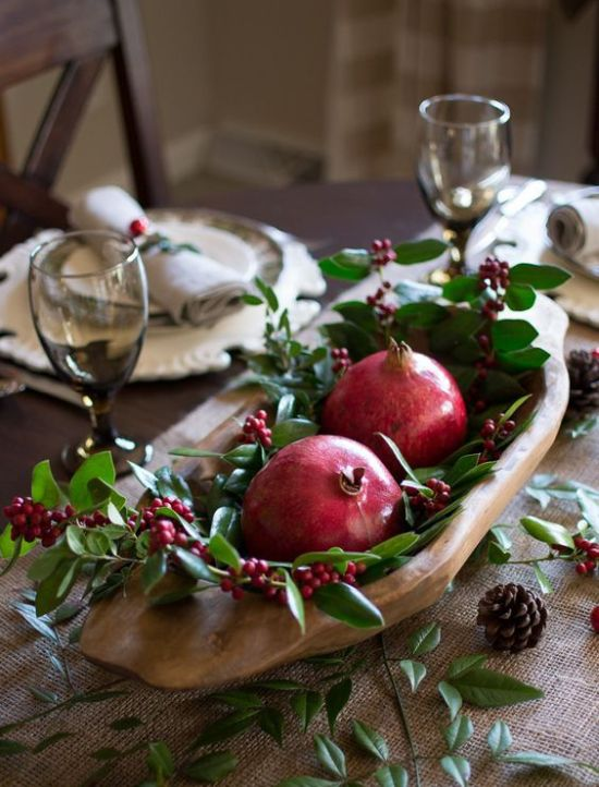 Rustic Christmas Table Setting With Greenery And Berries
