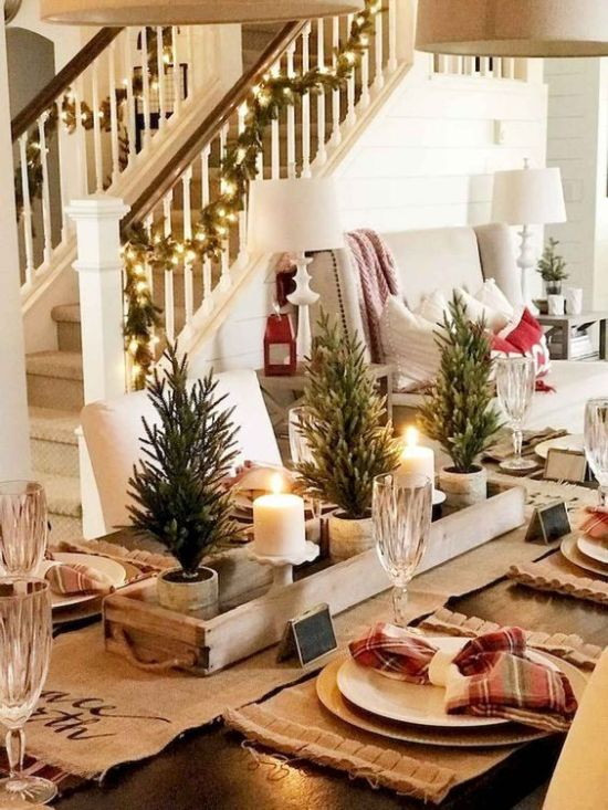 Rustic Christmas Tablescape With A Burlap Runner