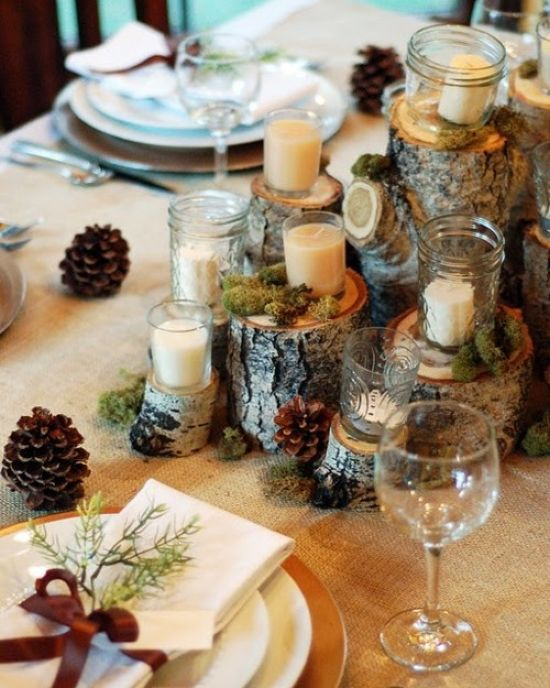 Rustic Christmas Tablescape With Tree Stumps