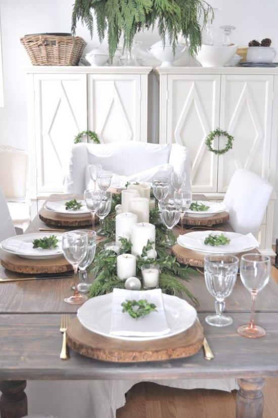 Rustic Christmas Tablescape With Wood Slice Chargers