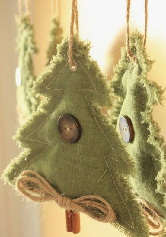 Rustic Christmas Tree Ornaments Of Green Fabric With Large Buttons