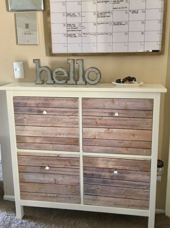Rustic IKEA Hemnes Shoe Storage Hack With Aged Wood Pieces