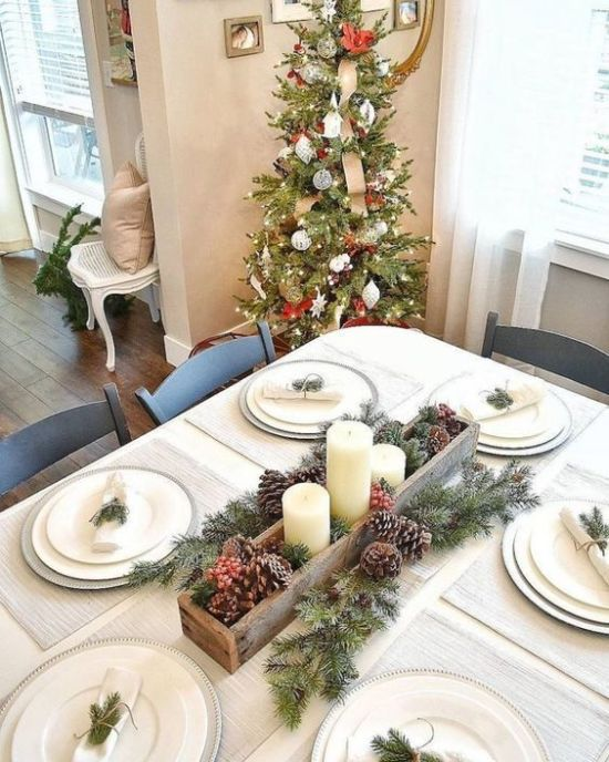 Rustic Neutral Christmas Tablescape With Silver Chargers