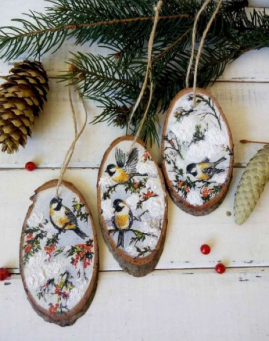 Rustic Wood Slice Christmas Ornaments With Painted Birds
