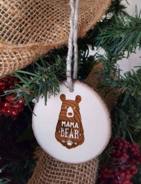 Rustic Wood Slice Christmas Ornaments With Plywood Stickers
