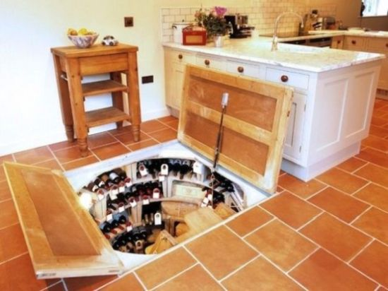 Secret Wine Cellar Built Into The Kitchen Floor