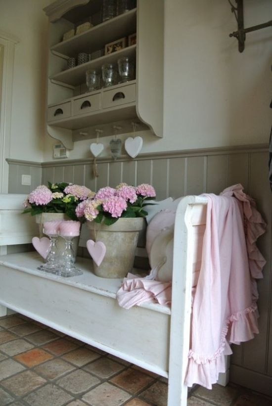 Shabby Chic Entryway Done In Neutrals