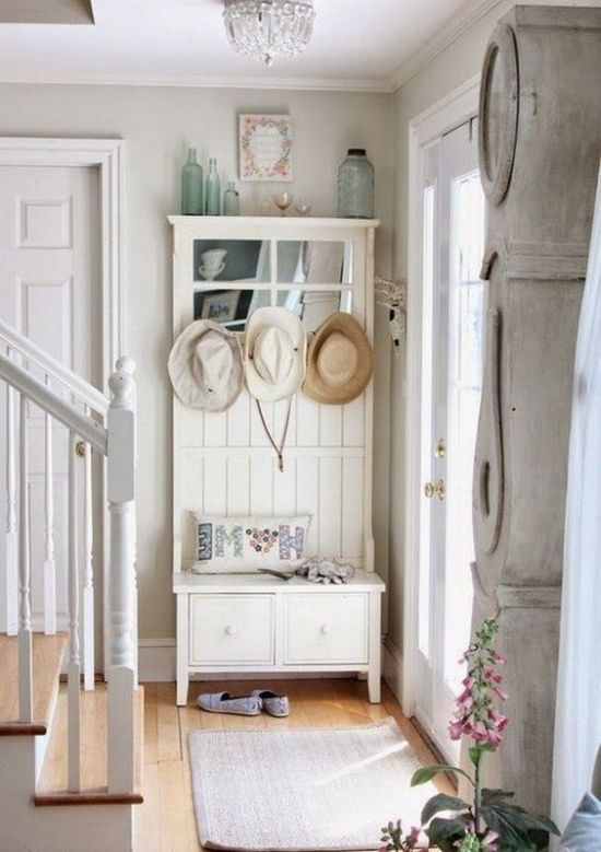 Shabby Chic Entryway With A Storage Unit With A Seat