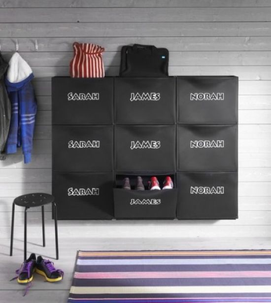 Shoe Storage With Kids' Names To IKEA Trones