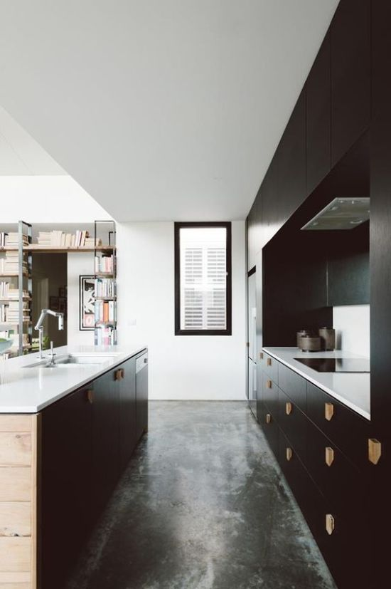 Stylish Black Kitchen With Wooden Handles